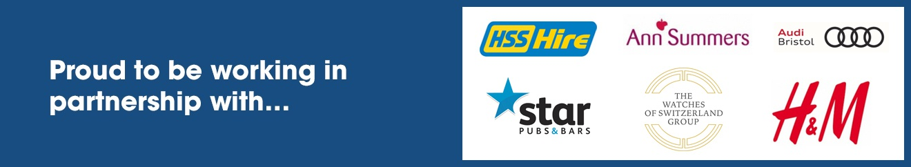 Proud to Support  HSS Hire, Ann Summers, AUDI Bristol, Star Pubs & Bars, The Watches of Switzerland Group, and H&M