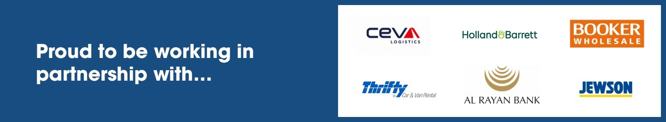 Proud to be working in partnership with CEVA, Holland & Barrett, Booker, Thrifty, Al Rayan Bank, and Jewson